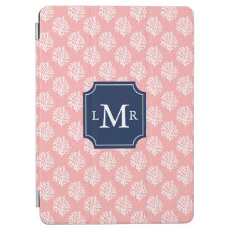 Pink Coral Reef Pattern and Monogram iPad Air Cover