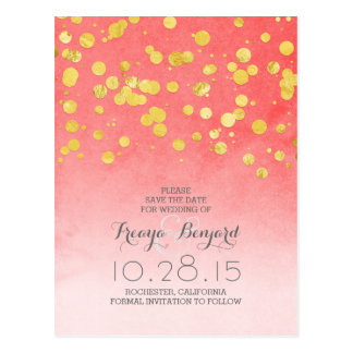 pink coral save the date & gold glitter confetti postcard