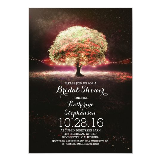 pink coral string lights tree bridal shower invite