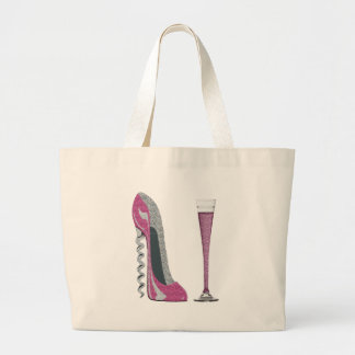 Pink Corkscrew Stiletto and Champagne Flute Large Tote Bag