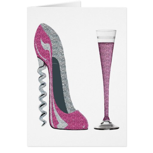 Pink Corkscrew Stiletto Champagne Flute Greeting Cards