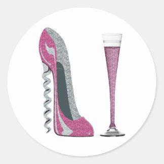 Pink Corkscrew Stiletto Champagne Flute Classic Round Sticker