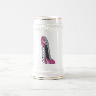 Pink Corkscrew Stiletto Heel Shoe Art Beer Stein