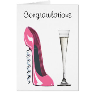 Pink Corkscrew Stiletto Shoe and Champagne Flute Greeting Card