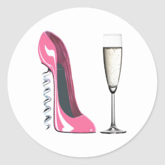 Pink Corkscrew Stiletto Shoe and Champagne Glass Classic Round Sticker