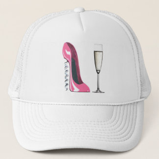 Pink Corkscrew Stiletto Shoe and Champagne Glass Trucker Hat