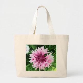 Pink cornflower tote bags