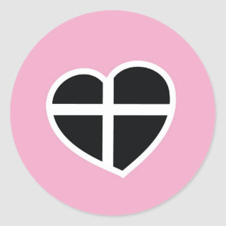 pink Cornwall heart Classic Round Sticker