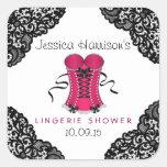 Pink Corset & Black Lace Lingerie Shower Stickers