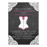 Pink Corset White Lace Chalkboard Lingerie Shower 13 Cm X 18 Cm Invitation Card