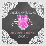 Pink Corset White Lace Chalkboard Lingerie Shower Square Sticker