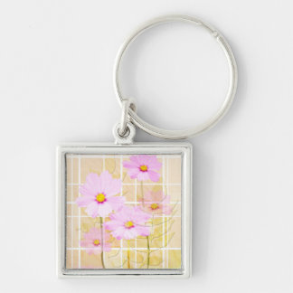 Pink cosmos cosmo flower cream yellow background key chain