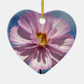 Pink Cosmos flower against blue sky Christmas Ornament