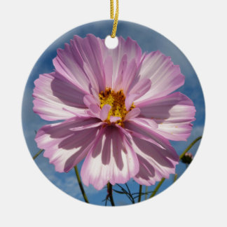 Pink Cosmos flower against blue sky Round Ceramic Decoration