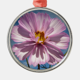 Pink Cosmos flower against blue sky Silver-Colored Round Decoration