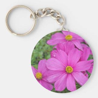 Pink cosmos flower garden keychain