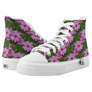 Pink Cosmos Flowers Nature Pattern High Tops