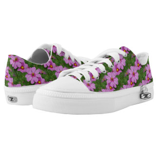 Pink Cosmos Flowers Nature Pattern Low Tops