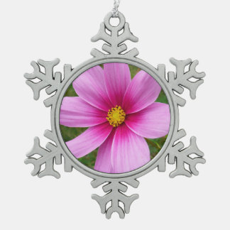 Pink Cosmos Flowers Snowflake Pewter Christmas Ornament