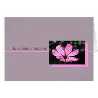 pink cosmos german sympathy card