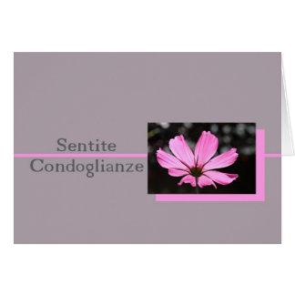 pink cosmos italian sympathy card