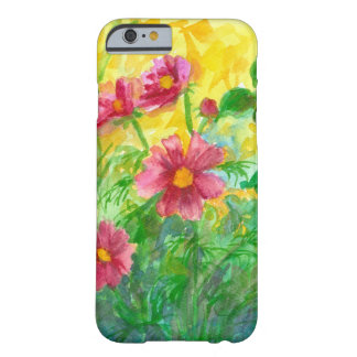 Pink Cosmos Watercolor Flowers Painting Barely There iPhone 6 Case