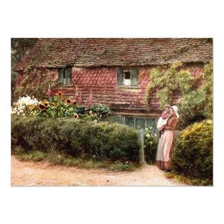 Pink Cottage at Buckingham c1900 14 Cm X 19 Cm Invitation Card