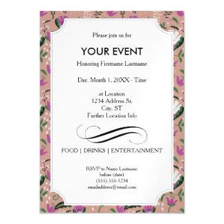 Pink Cottage Folk Floral Magnetic Invitations