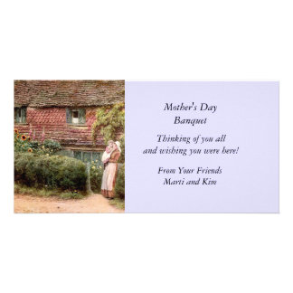 Pink Cottage Mother and Child Personalised Photo Card