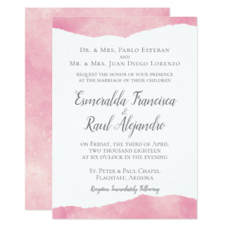 Pink Cotton Candy Watercolor Wedding Invitation