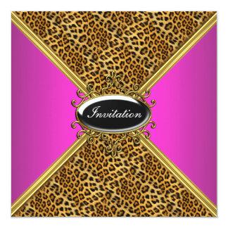 "Pink Cougar Birthday Party Dinner Invitation 5.25"" Square Invitation Card"