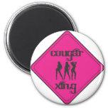Pink Cougar Crossing 3 Ladies Magnet
