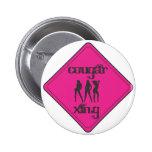 Pink Cougar Crossing 3 Ladies Pinback Button