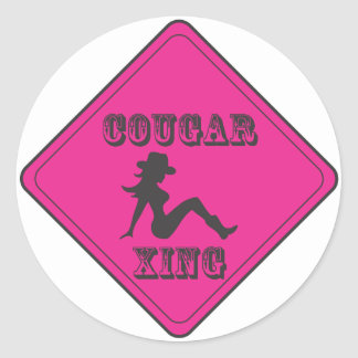 Pink Cougar Crossing Cowgirl Classic Round Sticker
