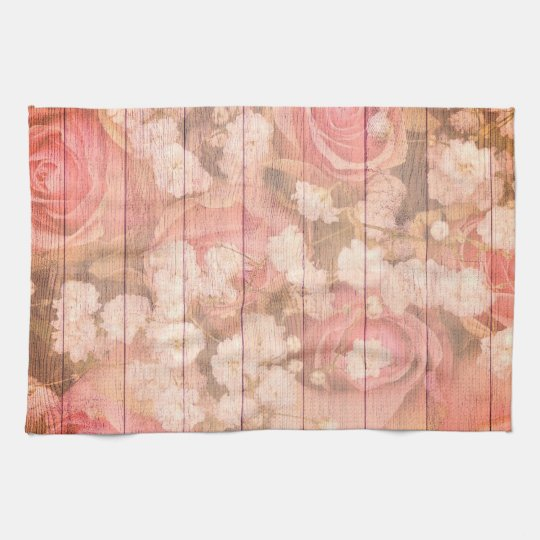 Pink Country Chic Roses Tea Towel