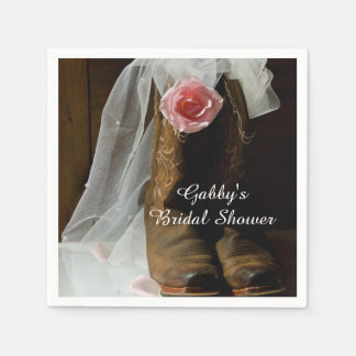 Pink Country Rose and Cowboy Boots Bridal Shower Paper Serviettes