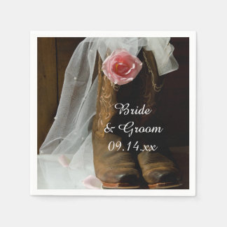 Pink Country Rose and Cowboy Boots Western Wedding Disposable Napkin