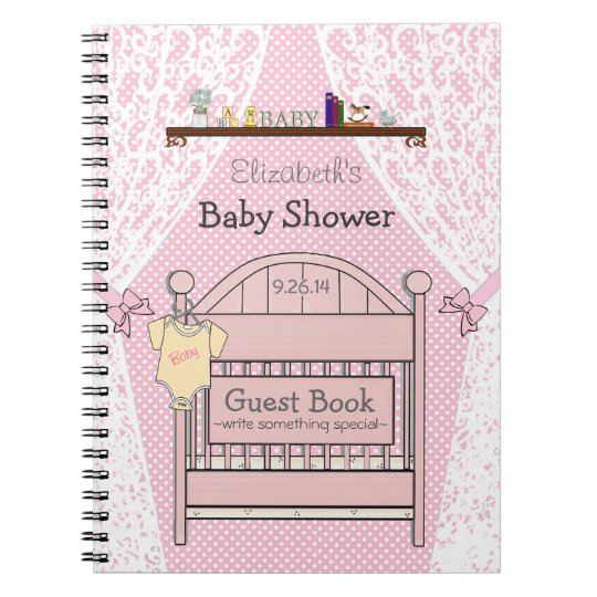 Pink Country Themed Crib Baby Shower Guest Book- Notebook