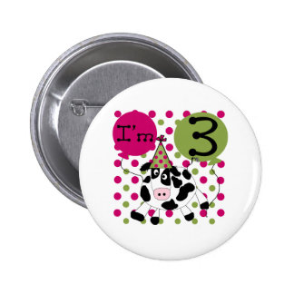 Pink Cow 3rd Birthday 6 Cm Round Badge