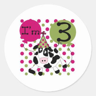 Pink Cow 3rd Birthday Round Sticker