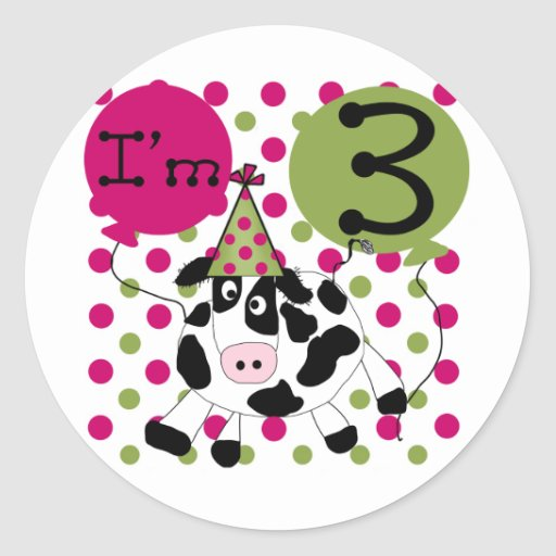 Pink Cow 3rd Birthday Tshirts and Gifts Round Stickers