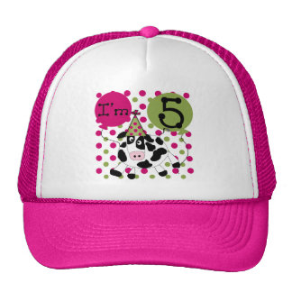 Pink Cow 5th Birthday Tshirts and Gifts Cap