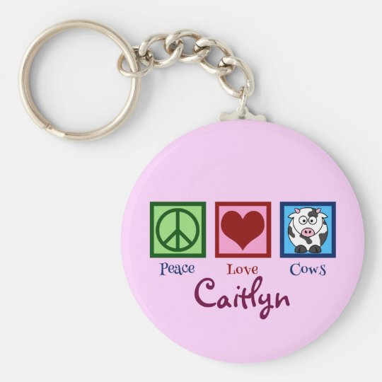 Pink Cow Cute Custom Basic Round Button Key Ring