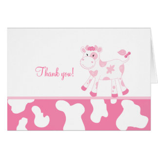 Pink Cow Folded Thank you notes Note Card
