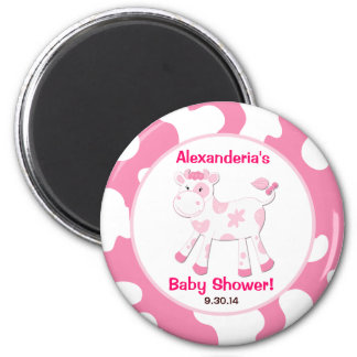 Pink Cow Round Custom Favor Magnet