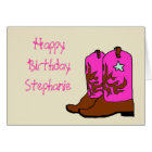 Pink Cowgirl Birthday Cards