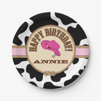 Pink Cowgirl Birthday, Customizable Plates 7 Inch Paper Plate