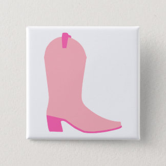 Pink Cowgirl Boot 15 Cm Square Badge