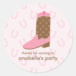 Pink Cowgirl Boot Birthday Party Round Sticker