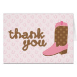 Pink Cowgirl Boot Western Party Thank You Notes Note Card